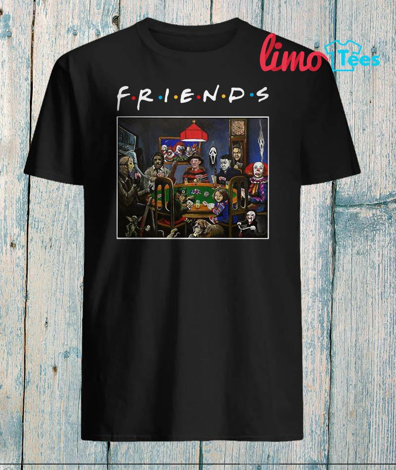 Friends Horror characters play poker shirt