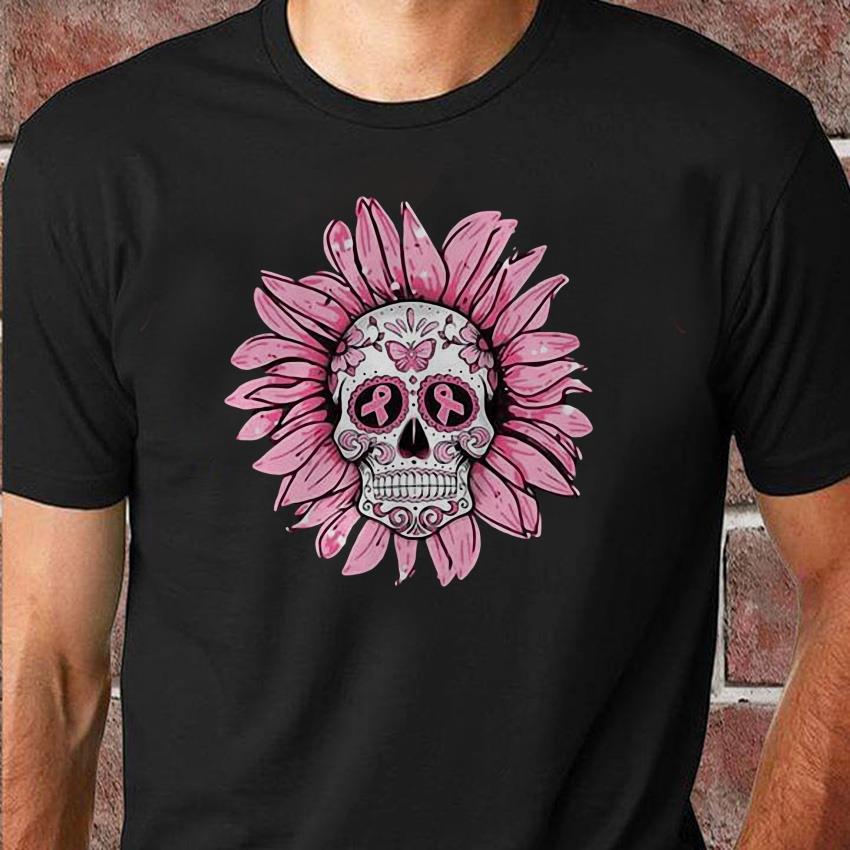 Breast cancer poco loco sugar skull sunflower shirt