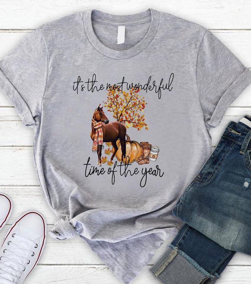 It's the most wonderful time of year horse pumkin autumn shirt