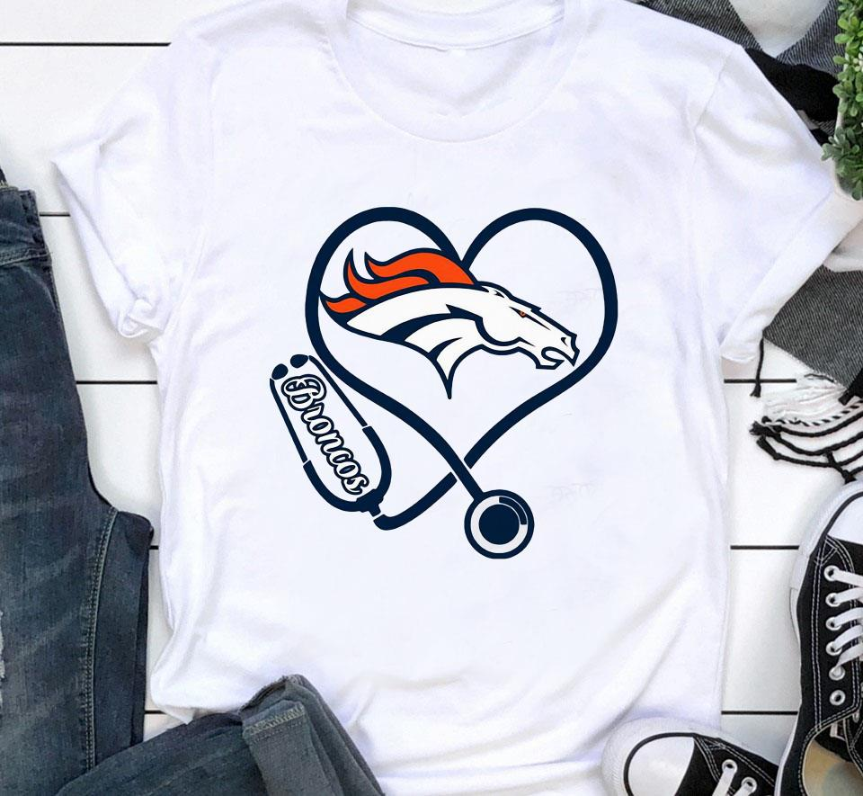Nurse Denver Broncos heart t-shirt