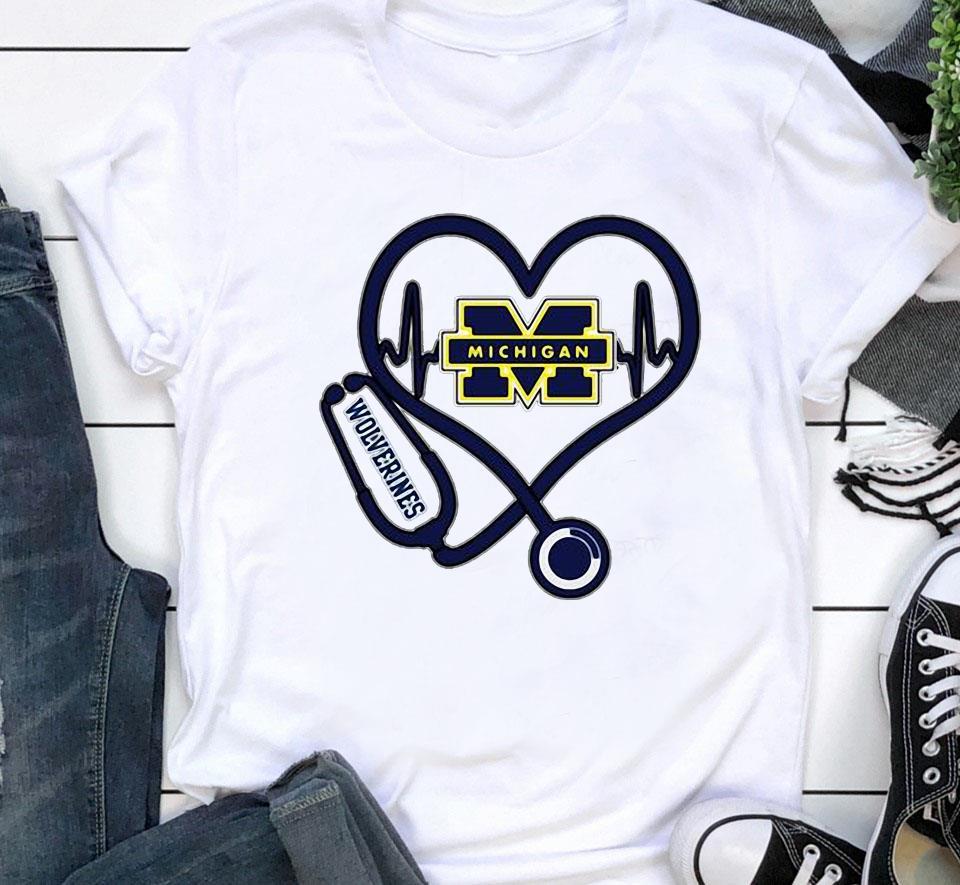 Nurse Michigan Wolverines heart unisex shirt