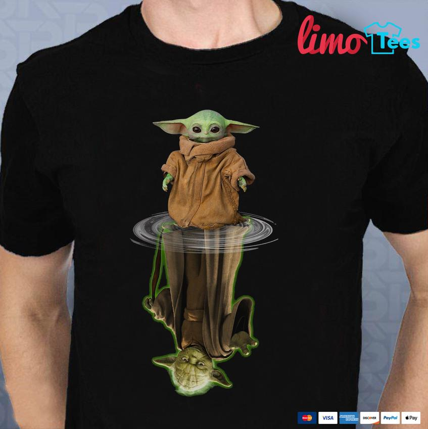 Mandalorian Baby Yoda Star Wars water reflection t-shirt