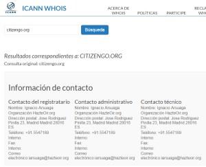 El registro de internet sigue diciendo que la web citizengo.org pertenece a hazteoir.org.