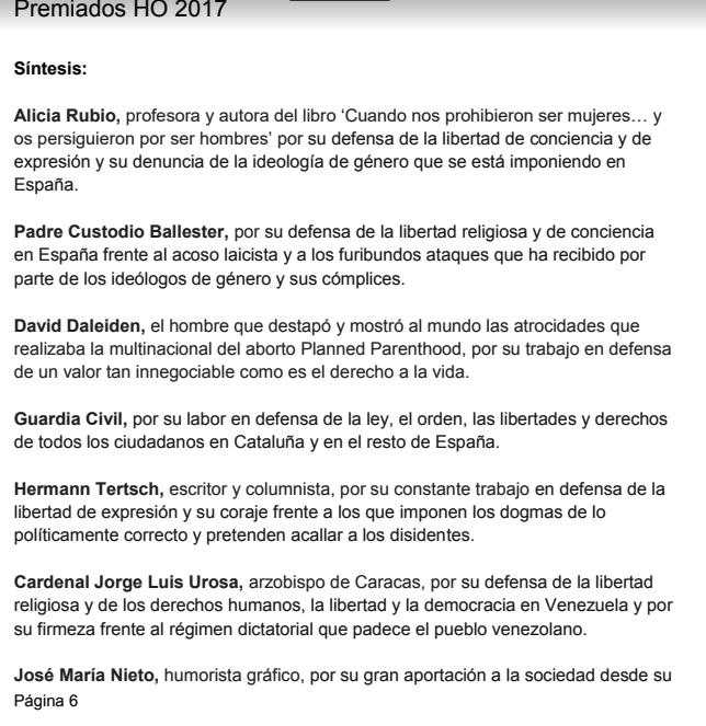 Dossier Premios HO 2017 con mención de Urosa.