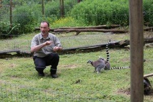 John D with ring-tailed lemurs