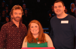 Clare with husband Adam and presenter Noel Edmonds