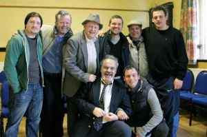 Adam Bassett (left) with the cast of the new Four Deaf Yorkshiremen film