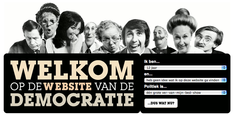 It is astonishing to find out that noconcise  visualization of the Dutch state and democratic system can be found on the Ineternet. After one hour of trying I have given up to find such a thing. The only funny but not-so-funny example is this website for Dutch schoolchildren but it does not have - as far as I can find out - any diagram or scheme that gives an idea of how things are organized in one single view.