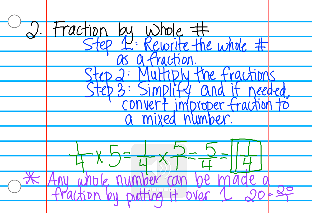 Improper Fraction To Mixed Number Notes