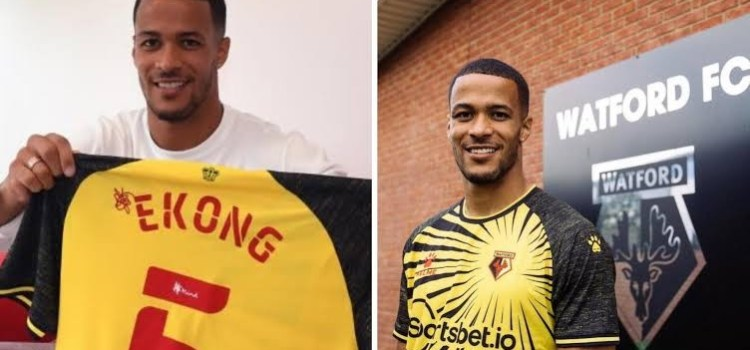 Nigerian International Player William Troost -Ekong React after scoring his first Goal for Watford.