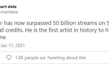 Drake becomes first artist to top 50 billion streams on Spotify.