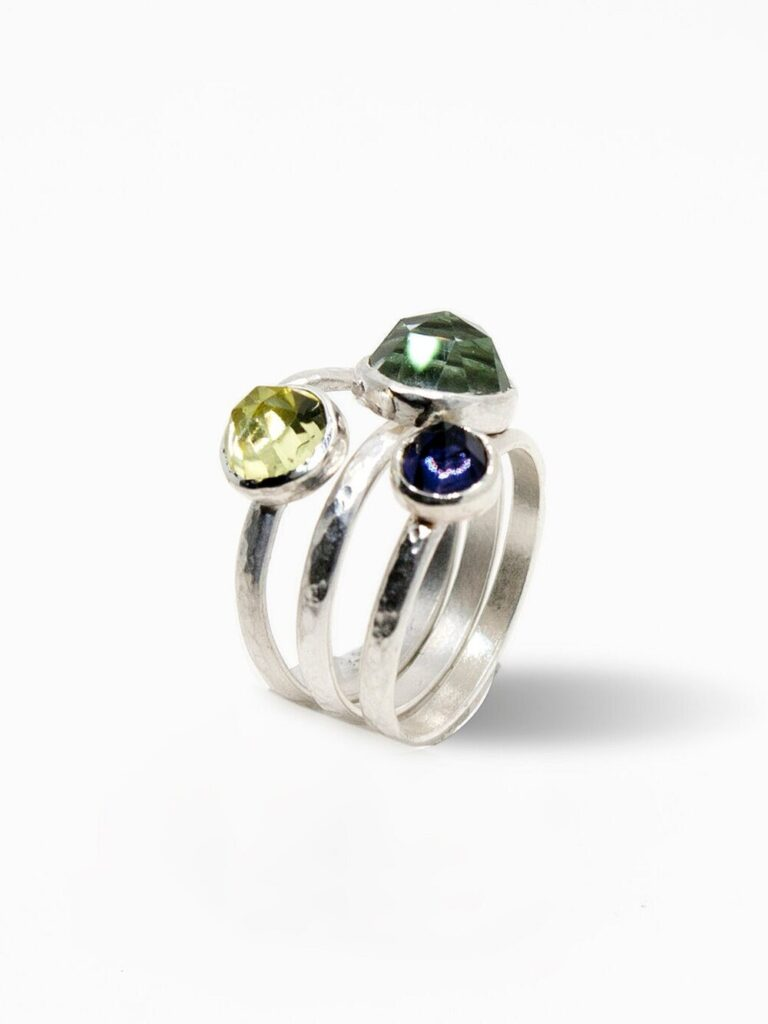 Silver Rose Stacking Rings with Color Gemstones