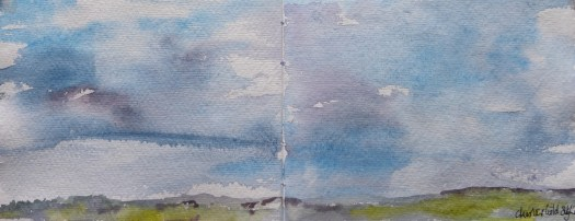 Chesterfield Skyline on a moody evening.  Watercolour on Khadi Paper.