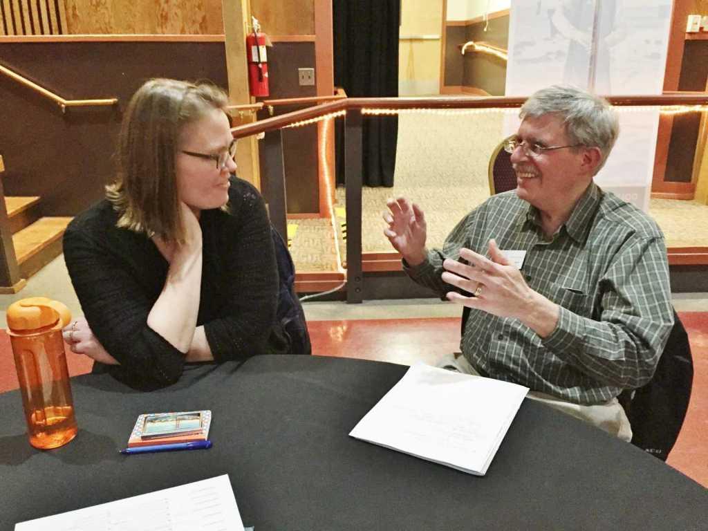 Kuri Gill of Oregon Heritage talks with John Lavrakas of the Newport Symphony Orchestra