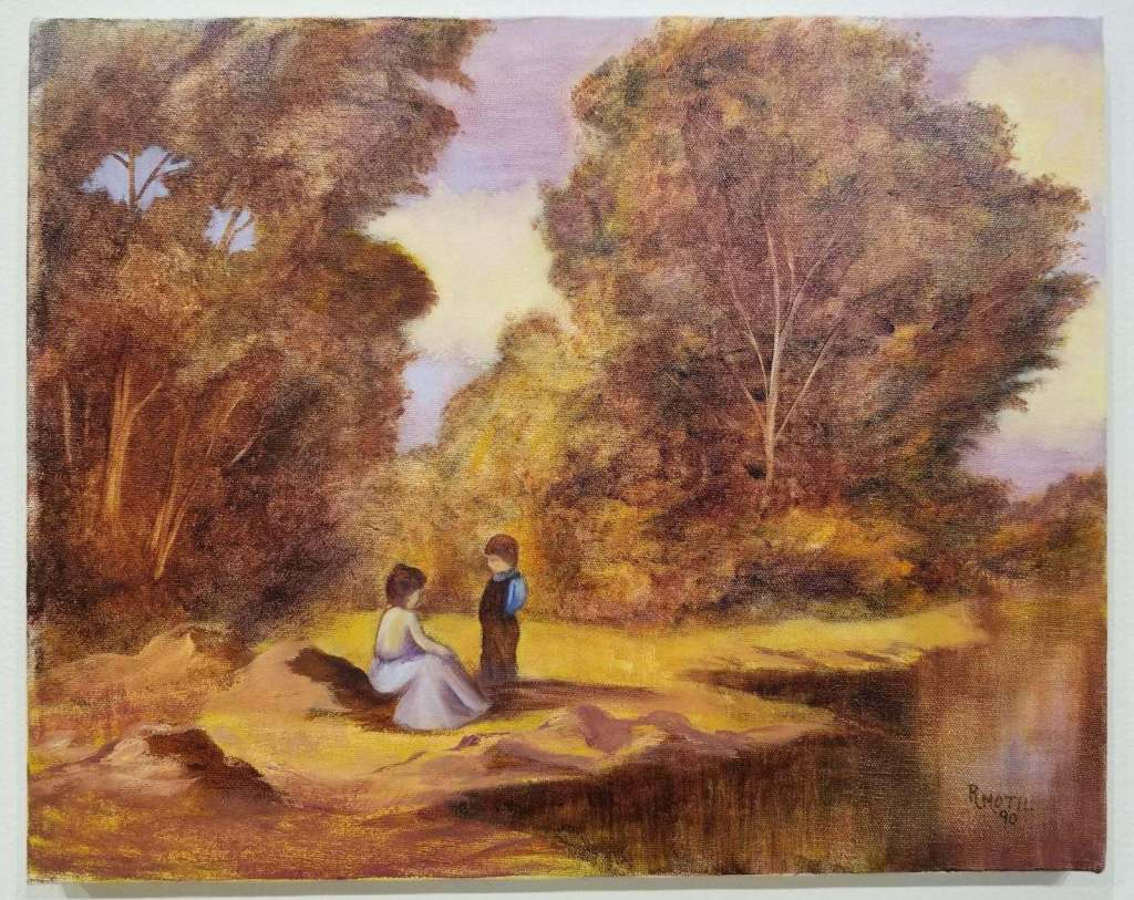 Painting by R. Motil that features a woman and a young boy sharing a somber moment alongside a lake.