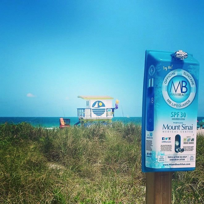 Free sunscreen on Miami Beach