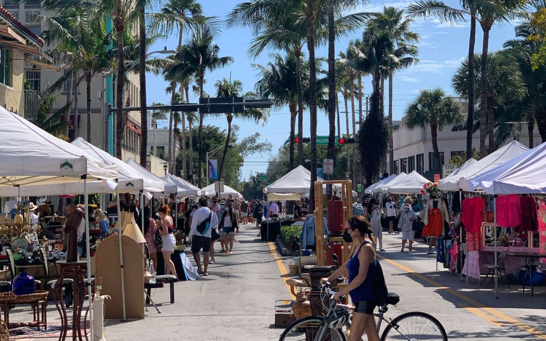 Shoppers at the Lincoln Road Antique Market