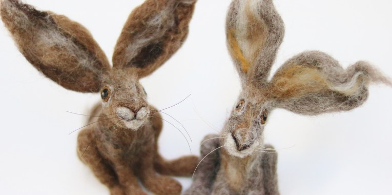 needle felted hares