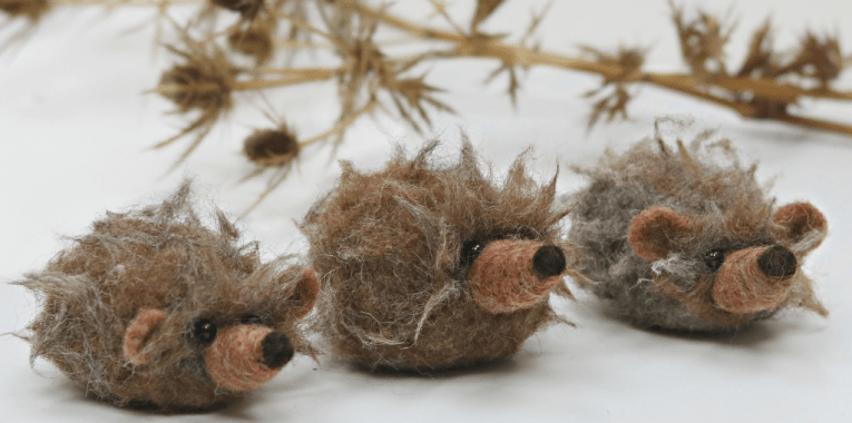needle felted hedgehogs