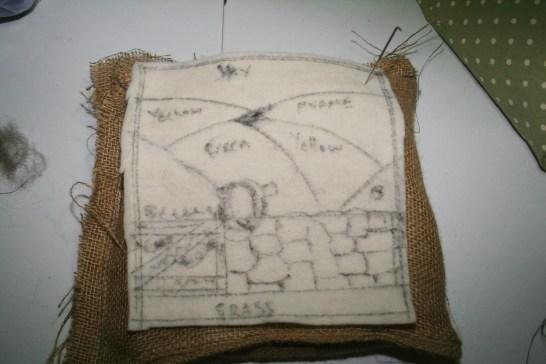 Instructional diagram on needle felting herdwick sheep