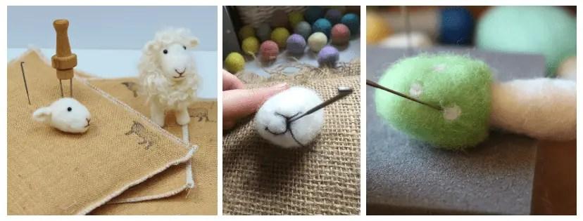 needle felted sheep and mushroom