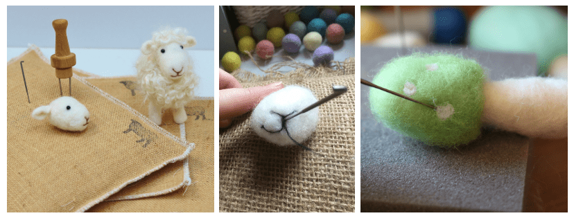 needle felted sheep and mushroom