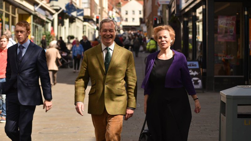Nigel Farage and Victoria Ayling in Lincoln. Photo: Steve Smailes for The Lincolnite