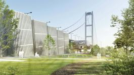 Artist impression of the proposed new visitor centre at the Humber Bridge