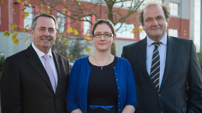 L-R: Dr Liam Fox, Caroline Johnson and Lindum Group chairman David Chambers. Photo: Chris Curtiss for Lincolnshire Reporter