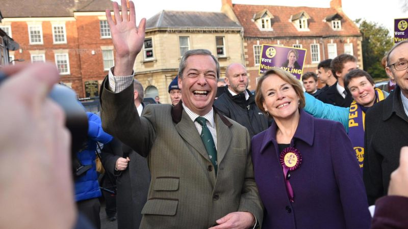Nigel Farage with UKIP candidate in the Sleaford and North Hykeham by-election, Victoria Ayling. Photo: Steve Smailes for Lincolnshire Reporter