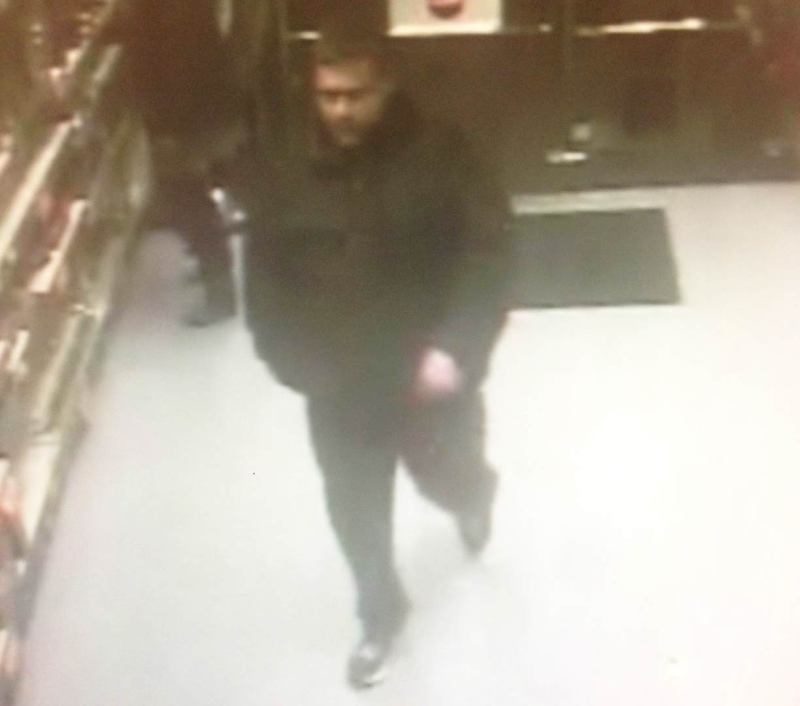 Police are looking for the man pictured in relation to the left of a turntable from B&M