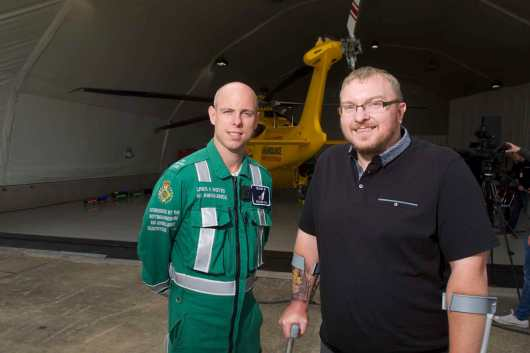 Neil Wood (right), from Bourne, with paramedic Rich Irwin. Photo: Steve Smailes for Lincolnshire Reporter