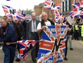 Police arrest two Unite Against Fascism protesters at far-right National Front march in Grantham