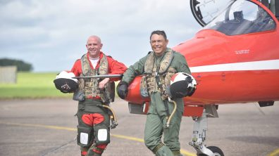 (L-R) Squadron Leader Mike Ling and Rory Underwood MBE. Photo: Steve Smailes for Lincolnshire Reporter