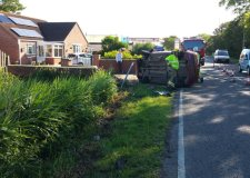 Delays after car flips in Mablethorpe