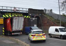 Dramatic pictures emerge as lorry is wedged under Grantham bridge