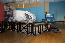 "Lincoln's Undying Words ""behind the scenes"" photography of the space and artifacts being installed in th space."