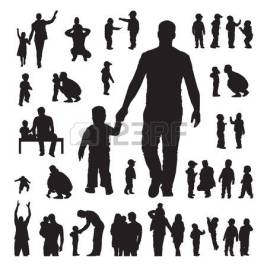 46177509-children-and-parents-silhouettes-set-on-a-white-background