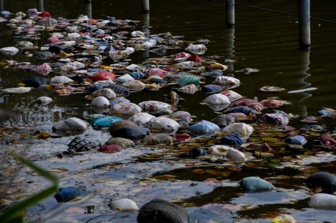 Swallow, 2008, Found handkerchiefs. Open-Air Art Exhibition: Trolls in the Park Location: Zenpukuji Park, Tokyo, Japan