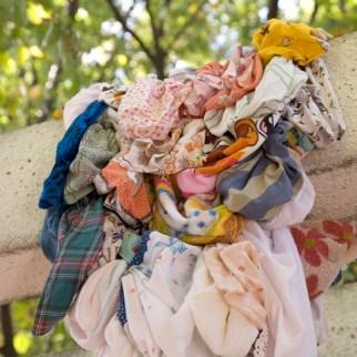 Untitled, 2007, found handkerchiefs, net. Installation. Photo by Suemasa Mareo
