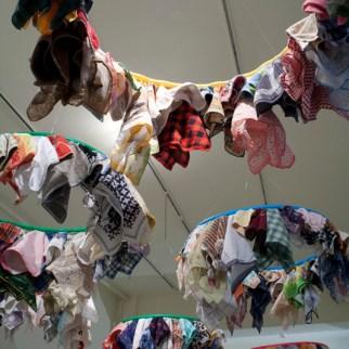 Installation. Materials: Found Handkerchiefs, hula hoops.