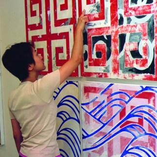 JYA-PA-N, 2001, Silkscreen ink, paint, plywood. Part of Solo Exhibition: Terra Nullius, Gallery Yamaguchi