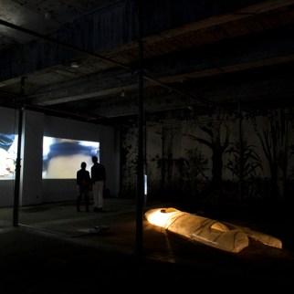 Present, 2014, digital video projection. Dolly, 2014, digital video projection, First, 2007, fiberglass, 430 x 120 cm.