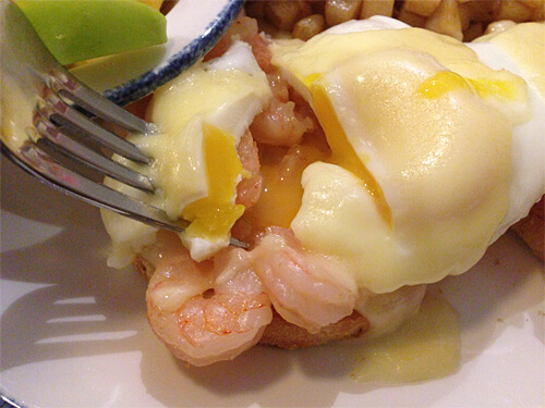 A closer look at my shrimp benedict!