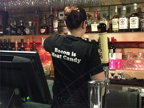 Funny work uniforms at Sloppy Hoggs Roed Hus.