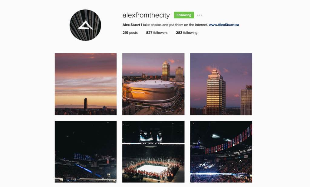 Edmonton Instagram Users - alexinthecity - Social Media