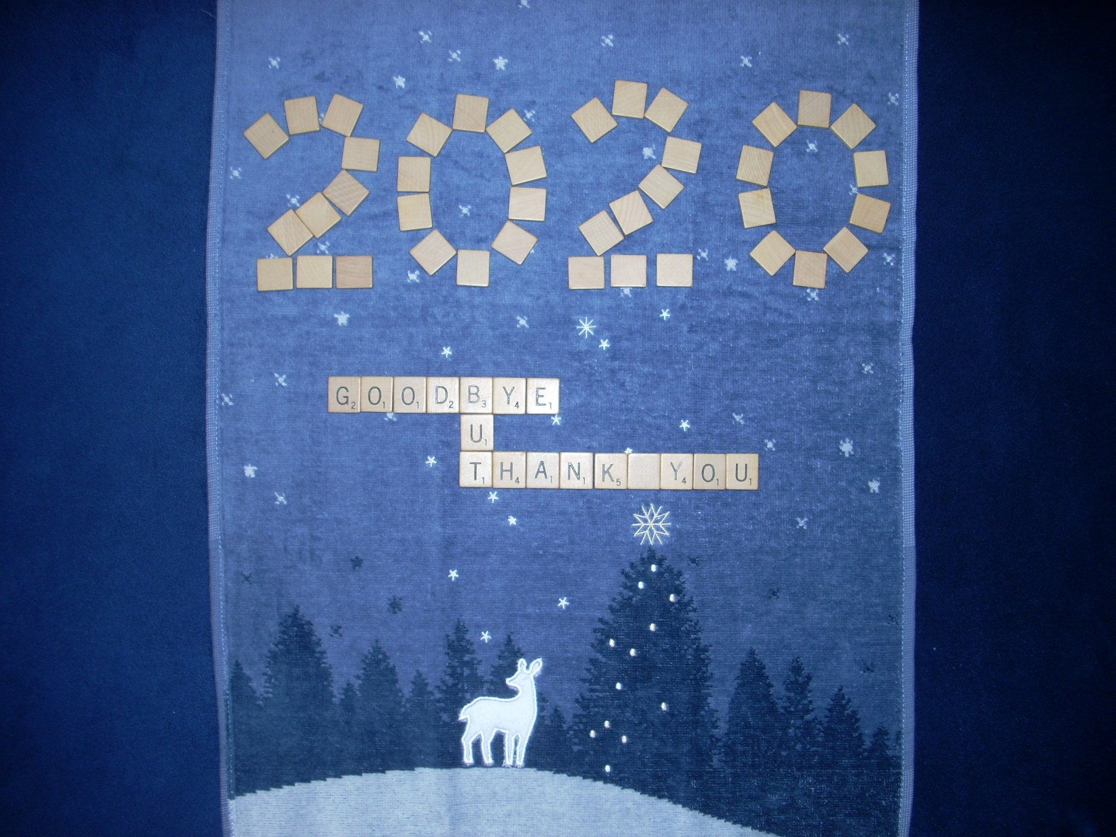 the words 2020 goodbye but thank you written in Scrabble tiles on a winter snow covered field, a white deer, dark silhoette of evergreens against a starlit sky