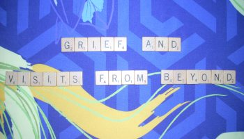 The title, Grief and Visits from Beyond is spelled in Scrabble TIles. The Background upon which the first two words are placed is in cool colors and straight lines represent the mood of grief. The last three words are placed upon warm, curving shapes indicative of hope.
