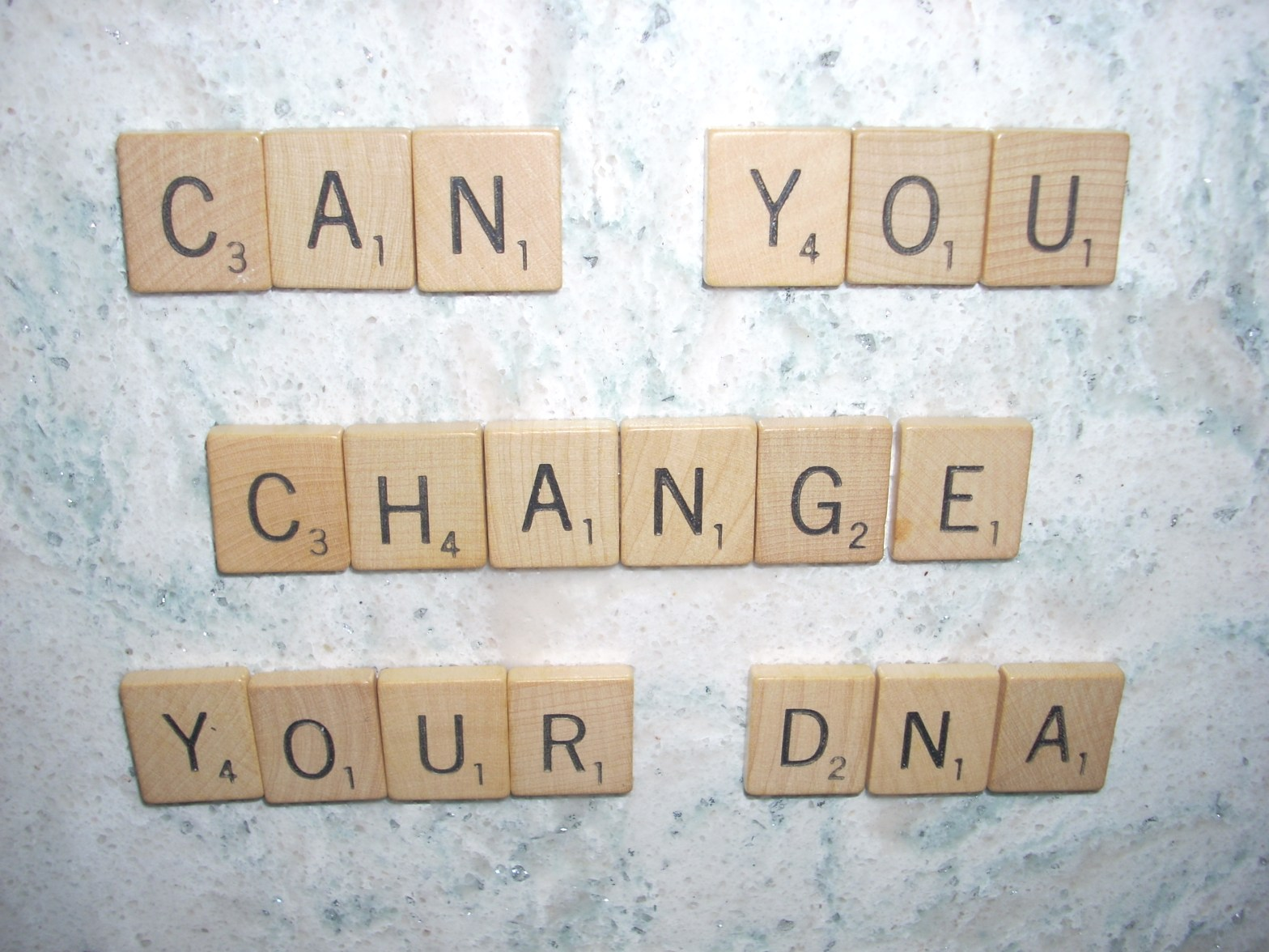 Scrabble tiles spelling title, Can You Change Your DNA