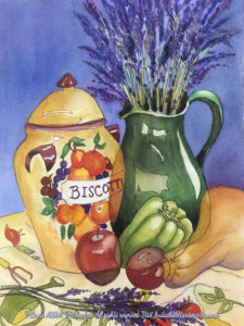 New paintings: Biscotti and Lavender, 11x15 pen and ink and watercolors. Original $500. Giclee$90 Watercolor painting by Linda Abblett.